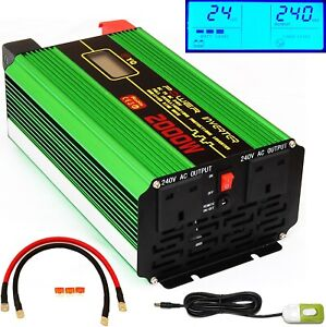 2000W (4000W Peak) DC24V POWER INVERTER +REMOTE SWITCH for Truck Lorry Microwave