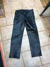 A+ rock and roll black leather pants trousers - lined - punk - UK 1980s