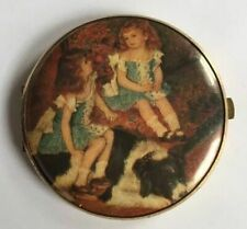 New listing Vintage Double Mirror Compact Portrait Of Two Girls And Dog Western Germany S101
