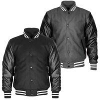 Mens PU Leather Wet Look Sleeve Varsity Baseball Fleece Padded Jacket Size