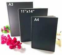 3 Sizes Spiral 120pgs Black Guest Book Photo Booth Album Scrapbook Wedding A4 A3