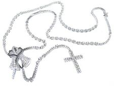 Mens 14k White Gold 17.00ct White & Black Diamond Praying Hands & Cross Rosary