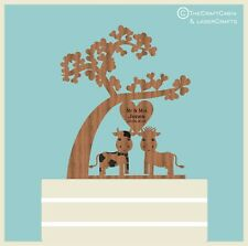 ''Mr & Mrs Farm Cow's'' Tree of Love Wooden Personalised Wedding Cake Topper