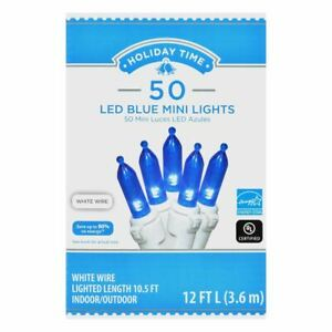 Holiday Time 50 LED BLUE Mini Lights White Wire Set Christmas Tree Wedding Strin