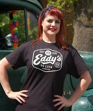 Official EDDY'S DE LUXE Pomade Black T-shirt Rockabilly Traditional Barber Shop