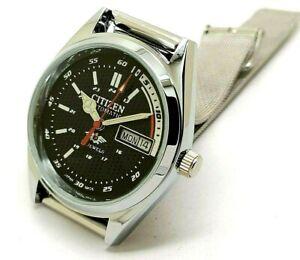 citizen automatic men's steel black dial day/date vintage japan watch run order
