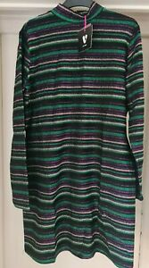 BNWT V by Very Stripe Lurex High Neck Mini Dress Black Size 16