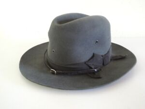 Vintage 1950s STETSON 3X Beaver Grey Hat with Stampede Strap Size 7 1/4