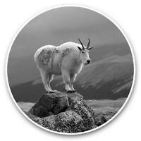2 x Vinyl Stickers 15cm (bw) - Cute Beautiful Mountain Goat  #35377