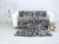 Luxury Real Hale Navy Rex Rabbit Throw Blanket