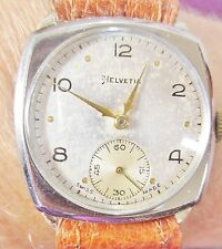 Gents 1940's SS Art Deco Helvetia Watch Cal 82C movt Prof Service 6 mth Warrnty