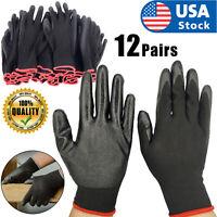 USA 12 Pairs Work Gloves Ultra-Thin Safety Polyurethane Coated Nylon Shell Black