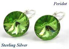 *STERLING SILVER* - RIVOLI - Peridot Earrings made with Swarovski Crystals
