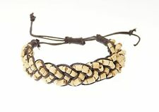 Coco Heishi / Wood & Cord Adjustable Wristband Bracelet - B