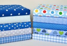 10 Piece Blue Sewing Patchwork Fabric Bundle Poly Cotton Large Offcuts Remnants