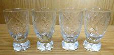 4 St. Schnaps Gläser mit Fuß Kristallglas geschliffen Stern ~1930/40er Jahre