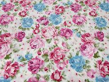 Stoff Baumwolle Popeline Rosen weiß rosa blau grün Blusenstoff Kleiderstoff