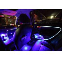 4m Car Fiber Optic Decorative Lamp Dash Trim Moulding LED Strip Blue Light DIY &