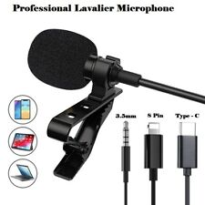 Lavalier Lapel Microphone Mini Stereo Clip on Mic Condenser For iPhone X Samsung