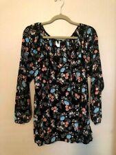 Divide By Zero Women's Plus Size 1X Black Floral Blouse