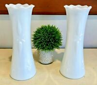 "Vintage Rare Design Pair E.O. Brody Milk Glass Vases 10"" Shabby Chic 1960s"