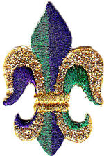 FLEUR DE LIS - GOLD, PURPLE, GREEN - MARDI GRAS - IRON ON EMBROIDERED PATCH
