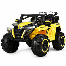 12V Kids Ride On Racing Off Road Truck Car Remote Control w/LED Light MP3 Yellow