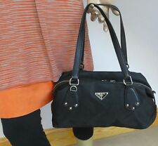 Prada BAG Nylon Leather Handbag -100% Authentic