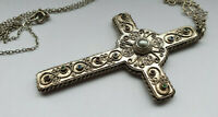 ANTIQUE LARGE BRASS SILVER PLATED CROSS NECKLACE