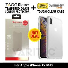 ZAGG Glass Screen Protector + Otterbox Clear Tough Case Cover For IPhone XS Max