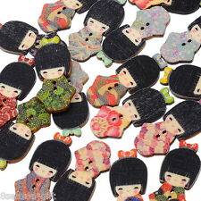 HX 100PCs Wooden Button The Japan Kimono Doll Cute 2hole Sewing Scrapbook DIY