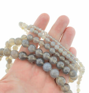 """Grey Agate Beads 4mm -12mm - Choose Your Size - 1 Full 15.5"""" Strand - BD1832"""