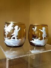 New listing Mary Gregory style mugs, amber with white hand painted scene