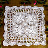 White Vintage Hand Crochet Doily Square Lace Table Cloth Topper 23inch Pattern