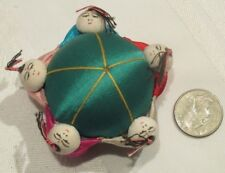 Vintage Chinese Silk Pin Cushion Green - 5 People - Made in China