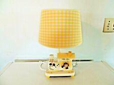 Vintage Nursery Originals Dual Night Light & Lamp Baby Boy Girl Wooden Gingham