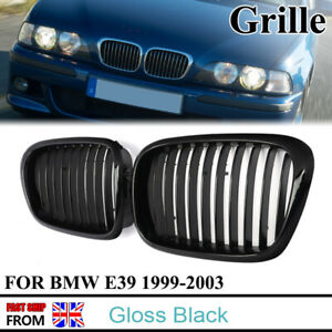 Pair Gloss Black Front Kidney Grille Grill For BMW E39 5-Series Saloon M5 99-03