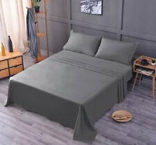 Luxury Bamboo Sheet Set Soft Hypoallergenic Gray Queen Deep Pocket 4 Pc Set