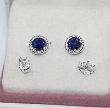 AUTHENTIC PANDORA Blue Round Sparkle Stud Earrings, 296272C01   #1920