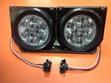 "(2) Red 10 LED 4"" Round Truck Trailer Brake S/T/T Lights W/ Clear Len & Brackets"