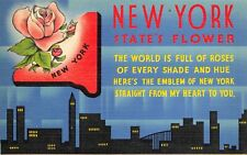Linen c1930-45 USA Postcard New York States Flower Roses State Flower Series 59Y