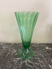 "STEUBEN 12"" TALL GREEN RIBBED TRUMPET VASE"