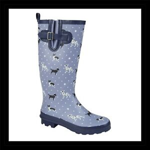Ladies Wellies Buddy Women's Waterproof Wellington Dog Walking Boots UK 4 - 8