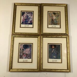 "Lot of 4 Gustav Klimt Art Prints Framed 9.25"" x 11.25"" Abstract Modern Cubism"