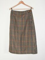 "DAKS 100% Wool Brown Check Skirt Beautiful Quality UK 14 30"" Waist Brand New"
