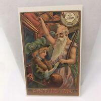 Vintage Postcard A Happy New Year Train Car Fancy Woman Cave Man