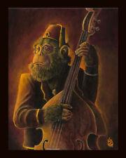 Ape Chimp Lowbrow Kustom Tiki Art Bass Rockabilly Music Guitar Pop Print