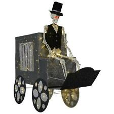 Life Size Lighted Haunted Skeleton Stagecoach Outdoor Halloween Yard Decor Prop