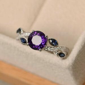 1.52CT Round Shape Diamond Amethyst 925 Sterling Silver Handmade Rings For Women