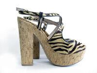 Vince Camuto Deville Leather Zebra Peep Toe Sandal Cork Platform High Heels